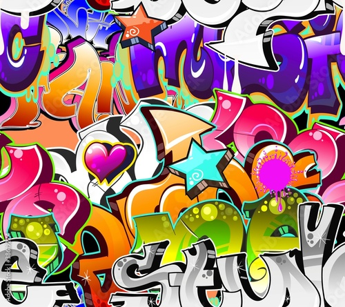 Fototapeta Graffiti Urban Art Background. Seamless design
