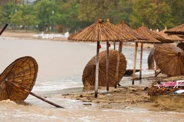 A dirty polluted beach  in the rain