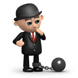 3d Bowler hat businessman in ball and chain