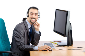 Call center worker on white