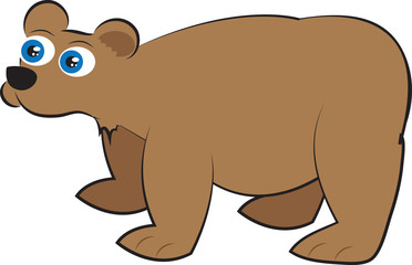 Isolated cartoon brown grizzly bear standing