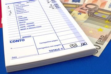 Conto ristorante/pizzeria - ricevuta fiscale