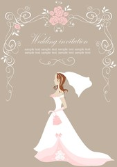 Wedding invitation with bride