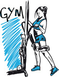 Sketch of a woman working out at the gym with dumbbell weights. - 38621808