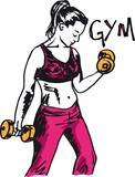 Sketch of a woman working out at the gym with dumbbell weights. - 38621839
