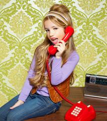 kid girl retro talking busybody in red telephone