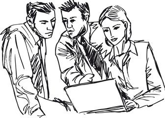 Sketch of successful business people working