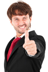 Businessman thumbs up isolated on white