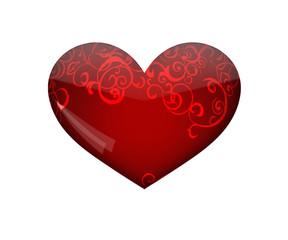 Сердце глянцевое с узором.