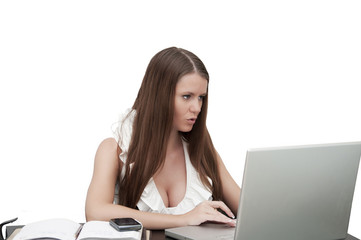 Young sexy business lady at work