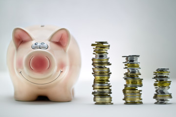Pink pig with stacks of coins
