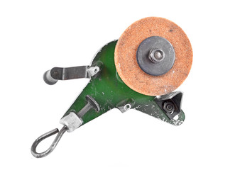Mechanical grindstone with vice, isolated on white background