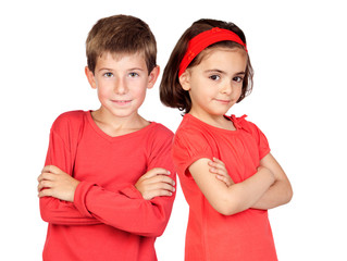 Two children in red