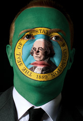 us state of washington flag painted face of businessman or polit