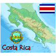 costa rica central america map flag emblem
