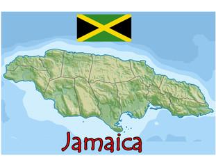 jamaica caribbean america map flag emblem