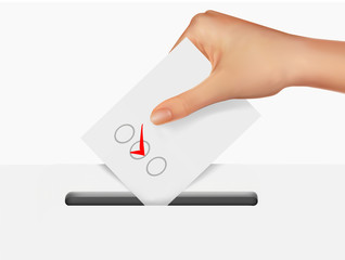 Hand putting a voting ballot in a slot of box. Vector.