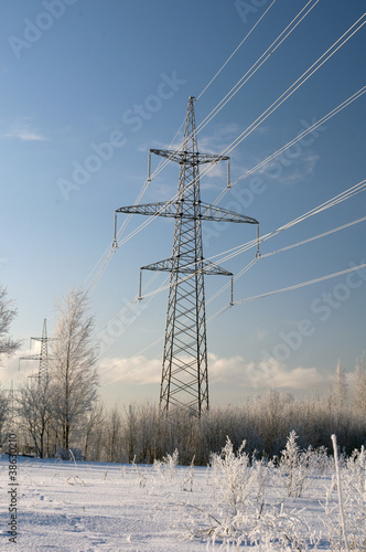 .Electric main in the winter