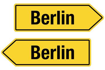 2 Pfeilschilder gelb BERLIN