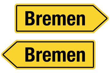 2 Pfeilschilder gelb BREMEN