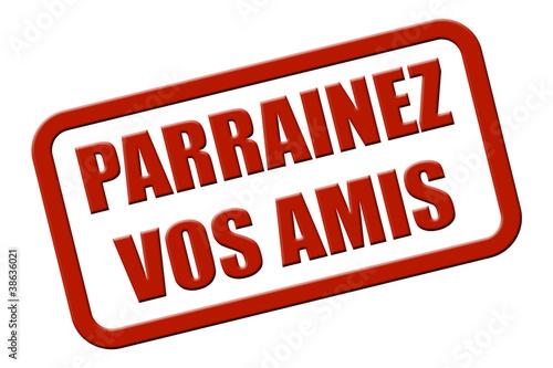 Stempel rot rel PARRAINEZ VOS AMIS