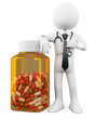 3D Doctor with a huge bottle of pills