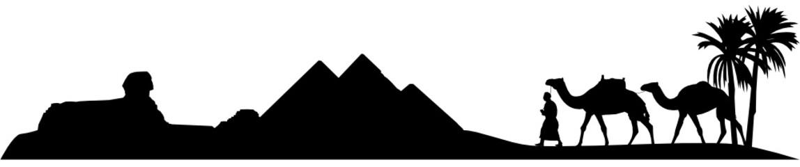 Ägypten Wüstenlandschaft Silhouette Pyramiden