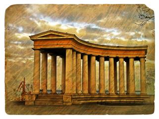 Old grunge antique paper texture of Greek colonnade pattern