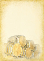 Wine barrels stacked at the old textured paper background.