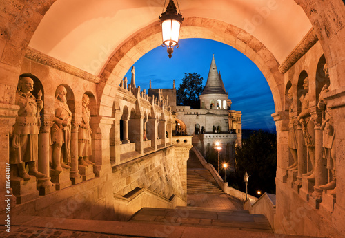 Leinwanddruck Bild The south gate of the Fisherman's Bastion in Budapest