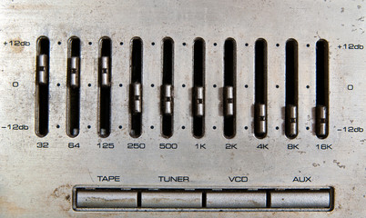 Old audio mixer control panel