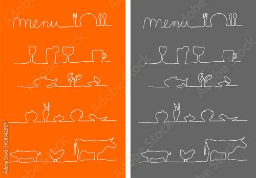 Menu, Speisekarte Symbole Essen und trinken