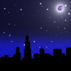 Moon and black starry sky over city