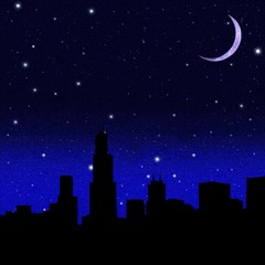 Crescent Moon and black starry sky over city