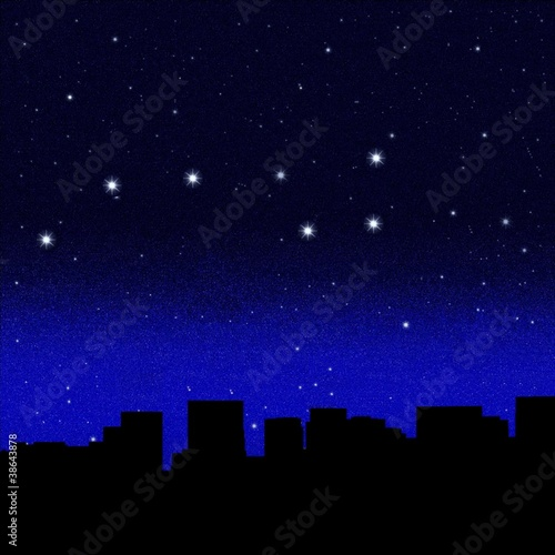 Black night sky plenty of stars with Great Bear over a  city