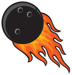 bowling ball in fire