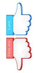 like and dislike symbols. 3d vector illustration
