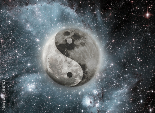 Moon with a sign of yin and yang