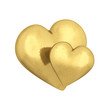 Couple of gold hearts , isolated on white