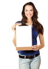Beautiful woman holding clipboard
