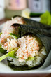 Fresh hand rolled crab sushi roll
