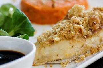 filet de daurade en crumble et purée de carotte 7