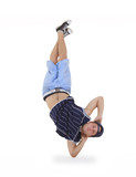 young male dancer performing a bboying stunt poster