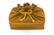 brown fabric gift bag isolated