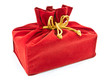 red fabric gift bag isolated