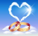 Card with wedding rings and heart poster