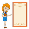 Smiling cartoon girl with placard
