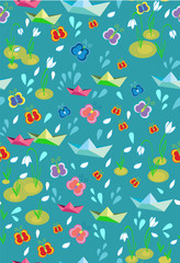 Childish seamless spring background with paperships