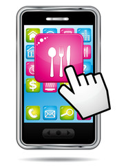 Hand cursor opening restaurant application on smartphone.