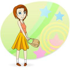 Fashion girl with pocket bag